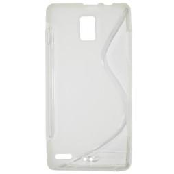 Huawei Ascend P1 - Gumiran ovitek (TPU) - belo-prosojen SLine