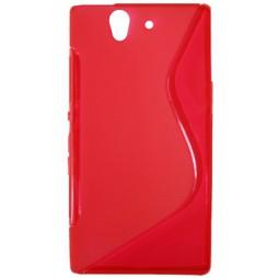 Sony Xperia Z yuga - Gumiran ovitek (TPU) - rdeče-prosojen SLine
