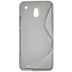 HTC One mini - Gumiran ovitek (TPU) - sivo-prosojen SLine
