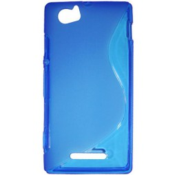 Sony Xperia M - Gumiran ovitek (TPU) - modro-prosojen SLine