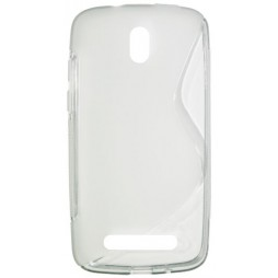 HTC Desire 500 - Gumiran ovitek (TPU) - belo-prosojen SLine
