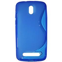 HTC Desire 500 - Gumiran ovitek (TPU) - modro-prosojen SLine