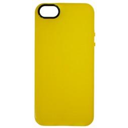 Apple iPhone 5/5S/SE - Gumiran ovitek (TPU) - rumeno-prosojen črn krog