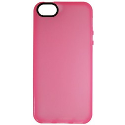 Apple iPhone 5/5S/SE - Gumiran ovitek (TPU) - sv.roza-prosojen črn krog