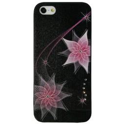 Apple iPhone 5/5S/SE - Okrasni pokrovček (30) - KR roza rožica