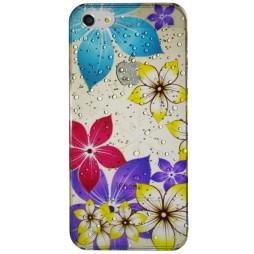 Apple iPhone 5/5S/SE - Okrasni pokrovček (32) - Večje barvne rože
