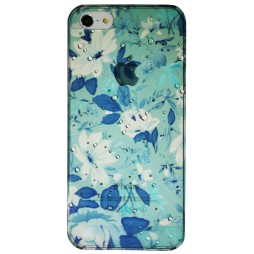 Apple iPhone 5/5S/SE - Okrasni pokrovček (32) - Modro-zelene rože