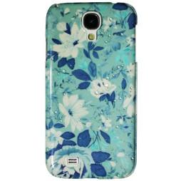 Samsung Galaxy S4 - Okrasni pokrovček (32) - Modro-zelene rože