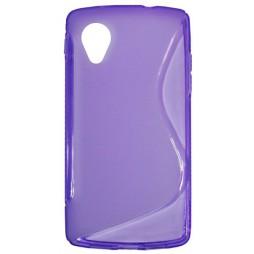 LG Nexus 5 - Gumiran ovitek (TPU) - vijolično-prosojen SLine