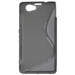 Sony Xperia Z1 Compact - Gumiran ovitek (TPU) - sivo-prosojen SLine