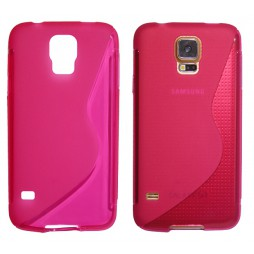 Samsung Galaxy S5/S5 Neo - Gumiran ovitek (TPU) - roza-prosojen SLine
