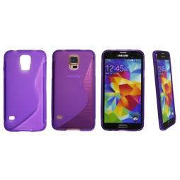 Samsung Galaxy S5/S5 Neo - Gumiran ovitek (TPU) - vijolično-prosojen SLine
