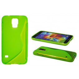 Samsung Galaxy S5/S5 Neo - Gumiran ovitek (TPU) - zeleno-prosojen SLine