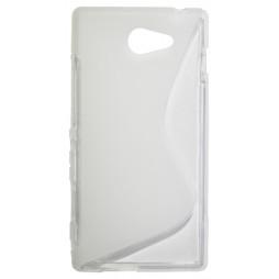 Sony Xperia M2 - Gumiran ovitek (TPU) - belo-prosojen SLine