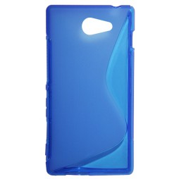 Sony Xperia M2 - Gumiran ovitek (TPU) - modro-prosojen SLine