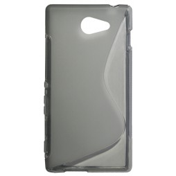 Sony Xperia M2 - Gumiran ovitek (TPU) - sivo-prosojen SLine