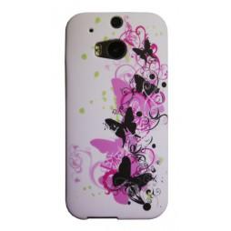 HTC One M8 - Gumiran ovitek (TPUP) - Pink&black butterfly