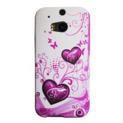 HTC One M8 - Gumiran ovitek (TPUP) - White pink hearts
