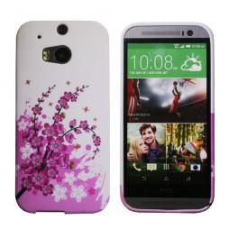 HTC One M8 - Gumiran ovitek (TPUP) - Pink flowers