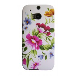 HTC One M8 - Gumiran ovitek (TPUP) - Pink garden