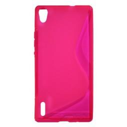 Huawei Ascend P7 - Gumiran ovitek (TPU) - roza-prosojen SLine