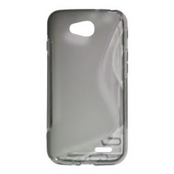 LG L90 - Gumiran ovitek (TPU) - sivo-prosojen SLine