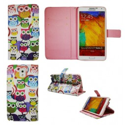 Samsung Galaxy Note 3 - Preklopna torbica (WLGP) - Colorful owls