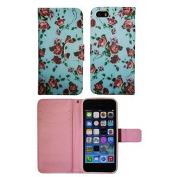 Apple iPhone 5/5S/SE - Preklopna torbica (WLGP) - Blue flowers
