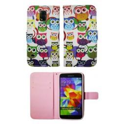 Samsung Galaxy S5/S5 Neo - Preklopna torbica (WLGP) - Colorful owls