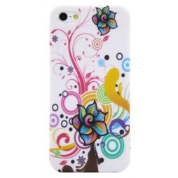 Apple iPhone 5/5S/SE - Gumiran ovitek (TPUP) - Circles & flowers
