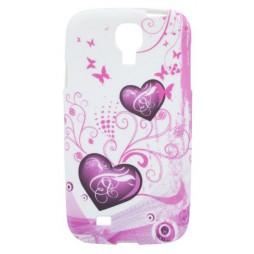 Samsung Galaxy S4 - Gumiran ovitek (TPUP) - White pink hearts