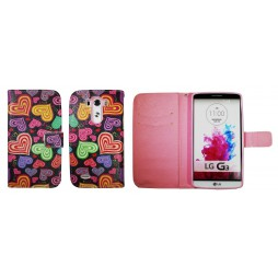 LG G3 - Preklopna torbica (WLGP) - Colorful hearts