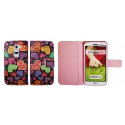 LG G2 mini - Preklopna torbica (WLGP) - Colorful hearts