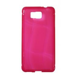 Samsung Galaxy Alpha - Gumiran ovitek (TPU) - roza-prosojen WLine