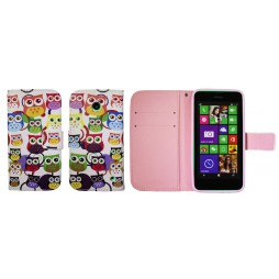 Nokia Lumia 630/635 - Preklopna torbica (WLGP) - Colorful owls