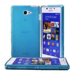 Sony Xperia M2 Aqua - Gumiran ovitek (TPU) - modro-prosojen mat
