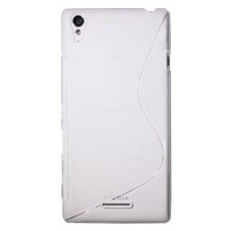 Sony Xperia T3 - Gumiran ovitek (TPU) - belo-prosojen SLine