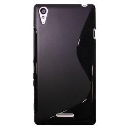 Sony Xperia T3 - Gumiran ovitek (TPU) - črn SLine