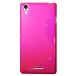 Sony Xperia T3 - Gumiran ovitek (TPU) - roza-prosojen SLine