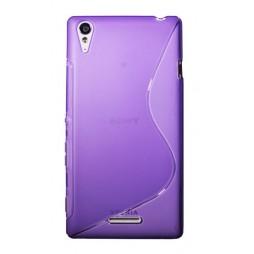 Sony Xperia T3 - Gumiran ovitek (TPU) - vijolično-prosojen SLine