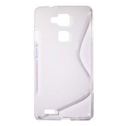 Huawei Mate 7 - Gumiran ovitek (TPU) - belo-prosojen SLine