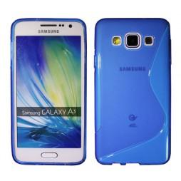 Samsung Galaxy A3 - Gumiran ovitek (TPU) - modro-prosojen SLine