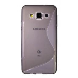 Samsung Galaxy A3 - Gumiran ovitek (TPU) - sivo-prosojen SLine