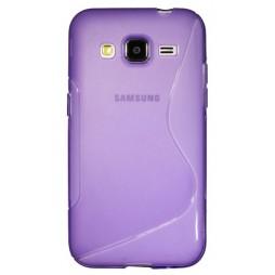 Samsung Galaxy Core Prime - Gumiran ovitek (TPU) - vijolično-prosojen SLine
