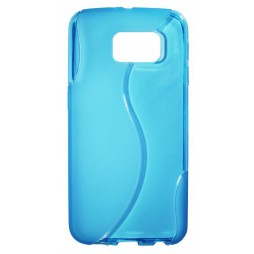 Samsung Galaxy S6 - Gumiran ovitek (TPU) - modro-prosojen SLine