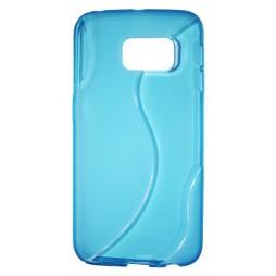 Samsung Galaxy S6 Edge - Gumiran ovitek (TPU) - modro-prosojen SLine