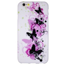 Apple iPhone 6/6S - Gumiran ovitek (TPUP) - Pink&black butterfly