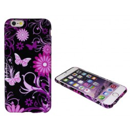 Apple iPhone 6/6S - Gumiran ovitek (TPUP) - Pinky flowers dark