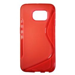 Samsung Galaxy S6 Edge - Gumiran ovitek (TPU) - rdeče-prosojen SLine