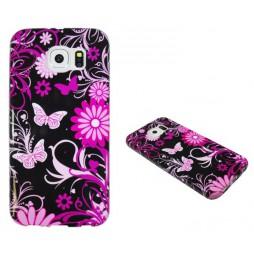Samsung Galaxy S6 - Gumiran ovitek (TPUP) - Pinky flowers dark